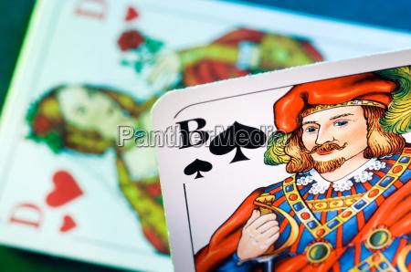 spielkarten pikbube und herzdame