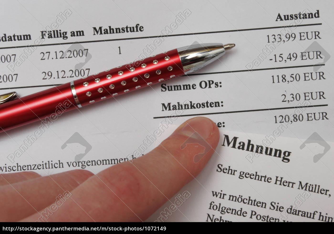 Symbol Finger Finanzen Zahlen Bezahlen Schulden Stockfoto