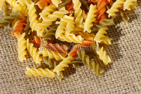 colorful italian noodles on sackleine