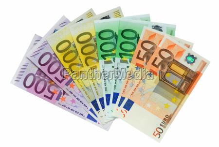 euro geldscheine isoliert auf weissem hi