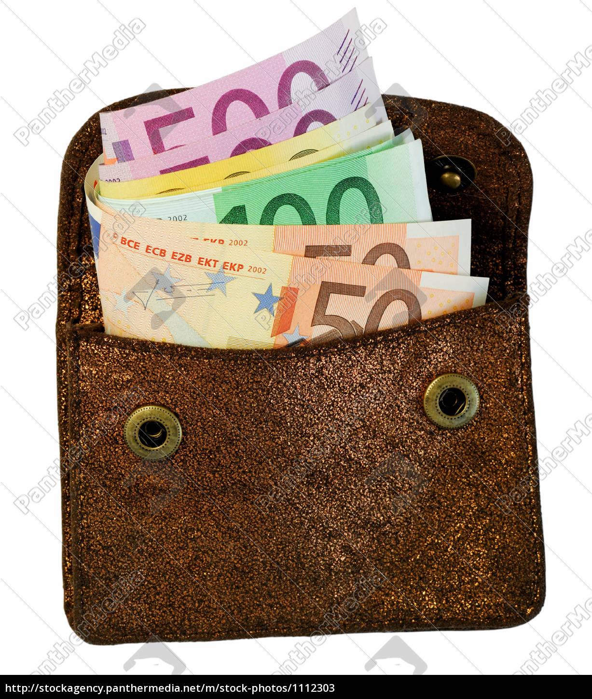Goldene Brieftasche mit Euro Banknoten - Lizenzfreies Bild ...