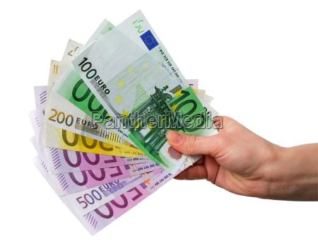 hand mit euro scheinen