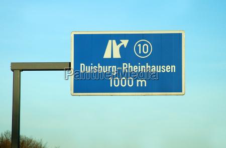motorway sign duisburg rheinhausen