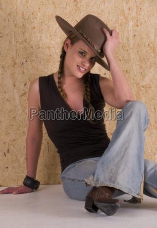 cowgirl mit hut