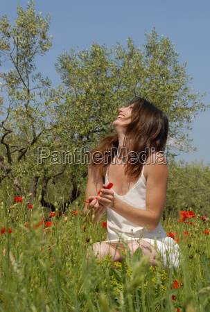 laughing woman in field