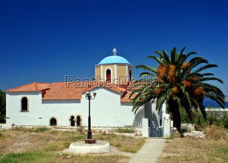 greek church and palm