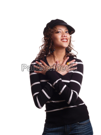 young hispanic woman with arms crossed