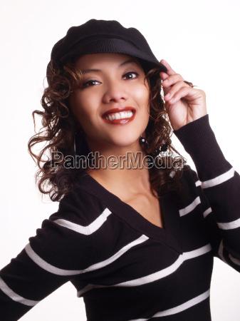 young woman portrait hispanic big smile