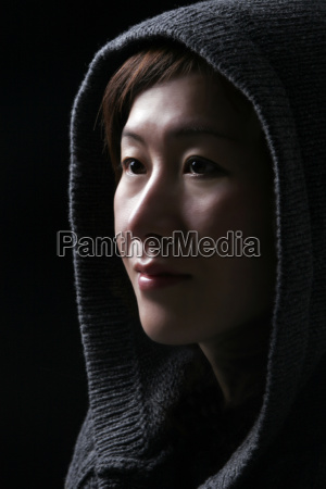 asian woman with hood