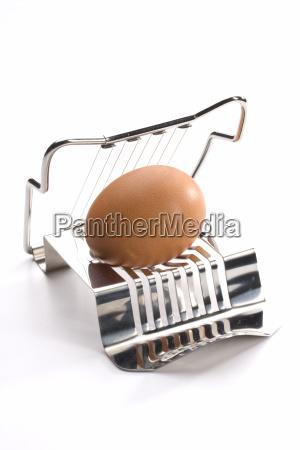 eierschneider mit ei auf weissem hintergrund