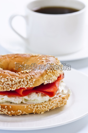 smoked salmon bagel and coffee