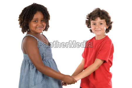 two handsome children of different races
