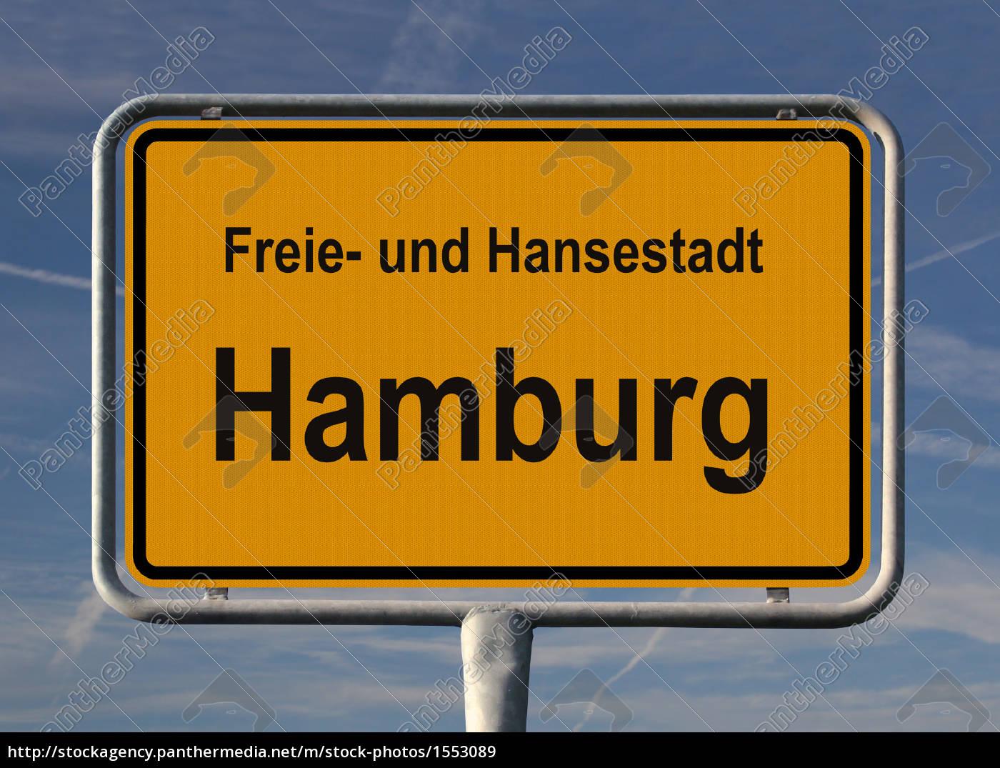 ortsschild freie und hansestadt hamburg lizenzfreies bild 1553089 bildagentur panthermedia. Black Bedroom Furniture Sets. Home Design Ideas