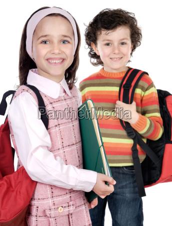 couple of children students