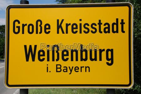 ortsschild weissenburg bavaria germany