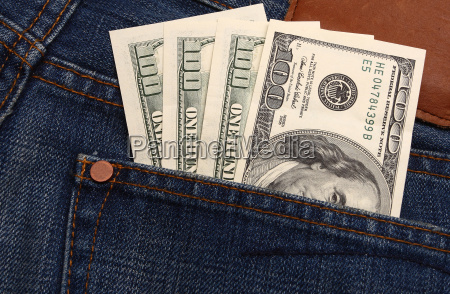 denim jeans detail and money
