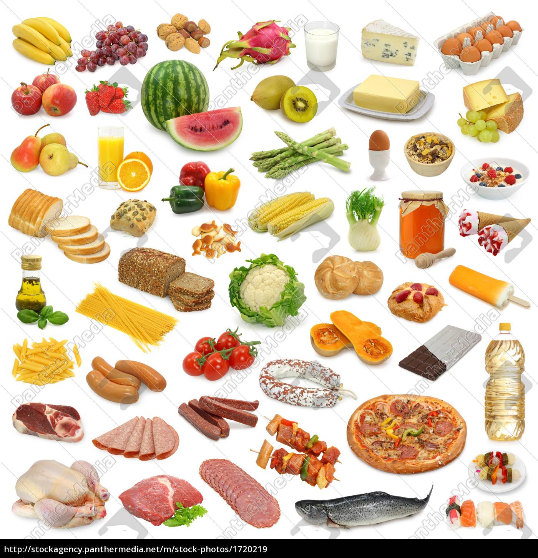 Lebensmittel  lebensmittel sammlung isoliert - Lizenzfreies Bild - #1720219 ...