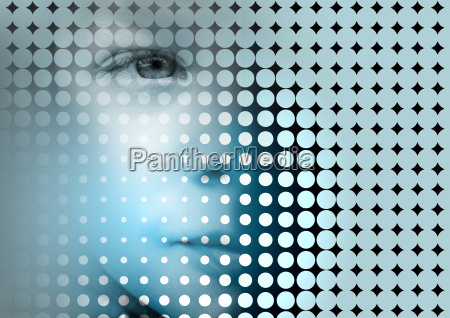 young child face on abstract background