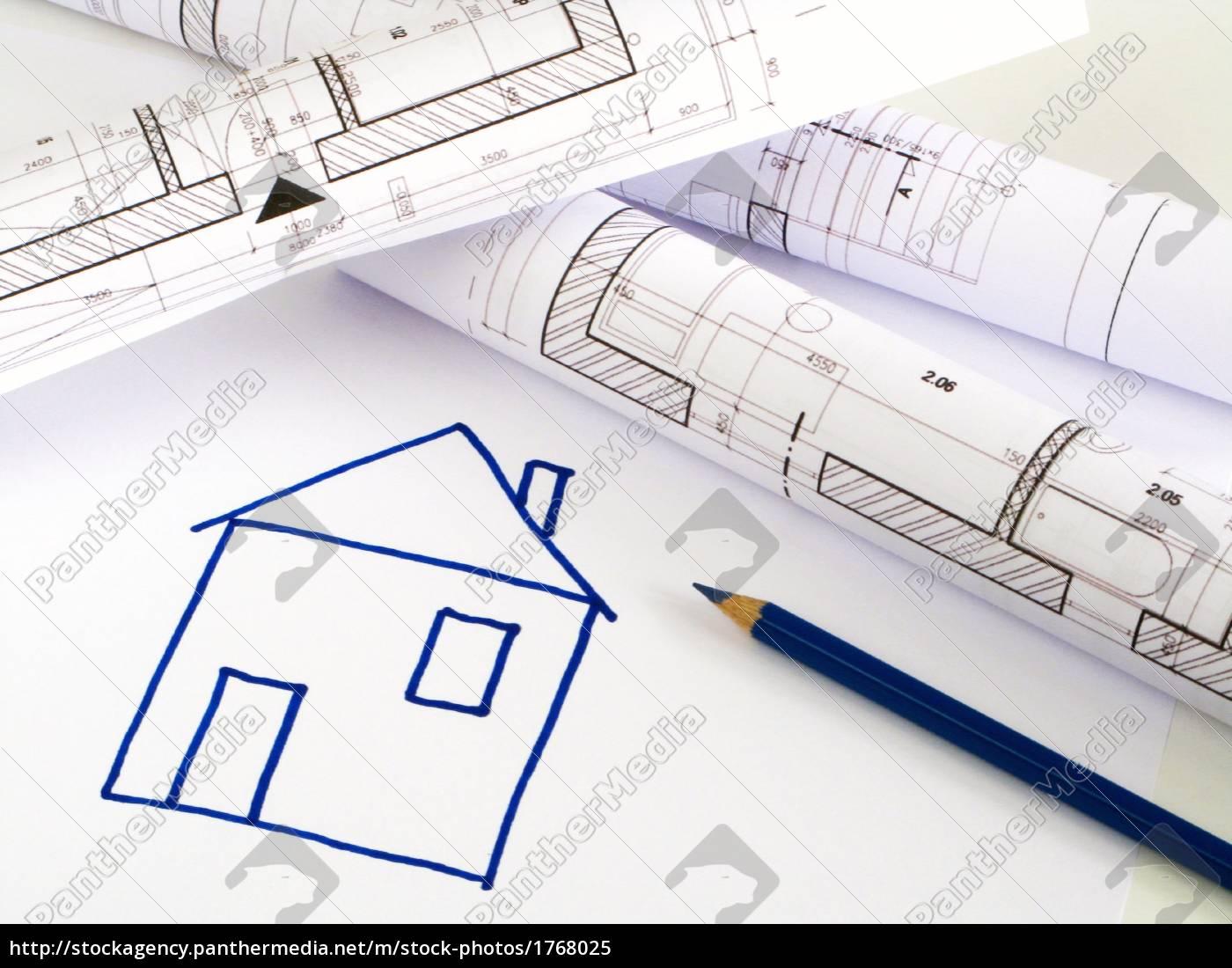 Architektonische skizze haus plan lizenzfreies bild for Haus plan bilder