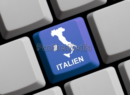 italy map on computer keyboard