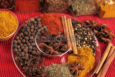 spices in glass bowl and plate