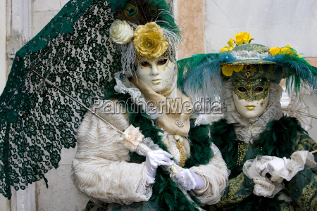 venice masks duo feathers carnival umbrella