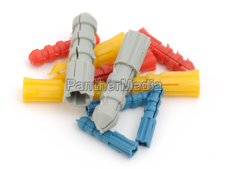colorful dowels on a white background