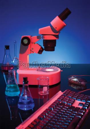 microscope and keyboard