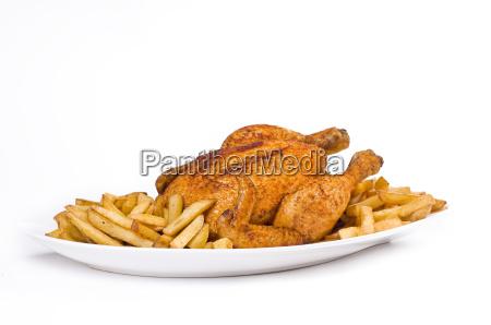 gebratenes haehnchen mit pommes frites