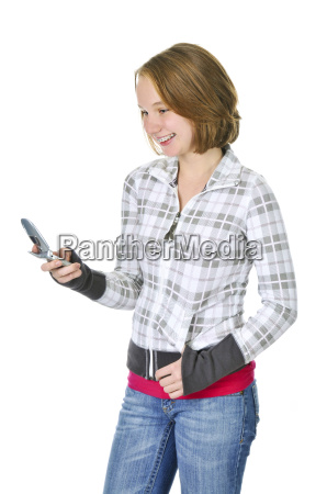 teenage girl text messaging on a