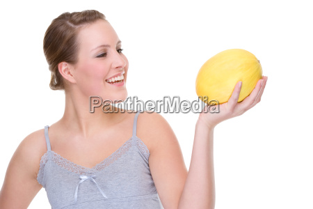 young woman with melon