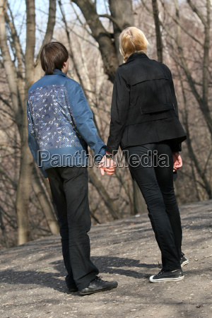 couple in love while walking
