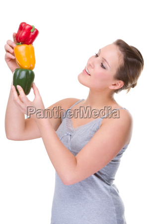 young woman with red pepper