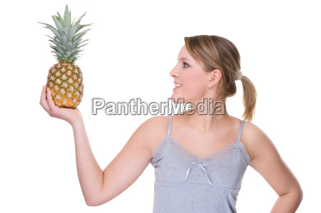 young woman with pineapple