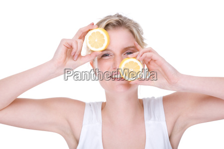 young woman with lemons