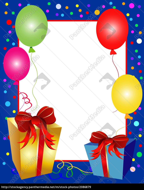 Geburtstagskarte Rahmen mit Geschenken - Lizenzfreies Bild ...