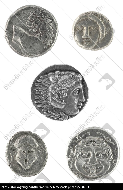 Antike Griechische Münzen Lizenzfreies Bild 2087533