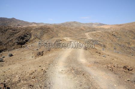 mountain road on fuerteventura canary islands