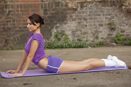 yoga exercise on the floor