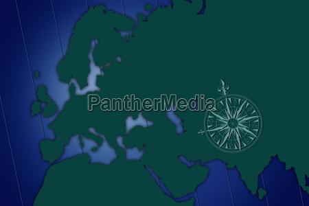 schattenkarte von europa mit blauem hintergrund