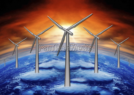 wind mills and planet ground
