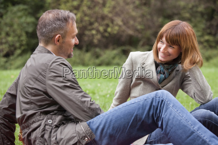 romantic couple in conversation