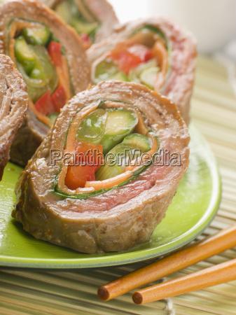 rindfleisch gemuese rolls