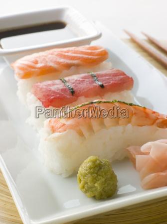 hand geformte meerestier sushi wasabi sojasauce