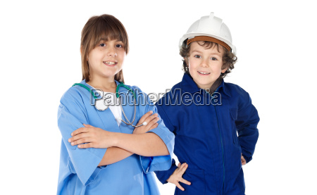 future workers isolated over white