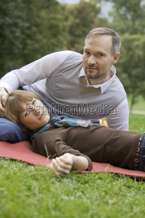 relaxed couple in park