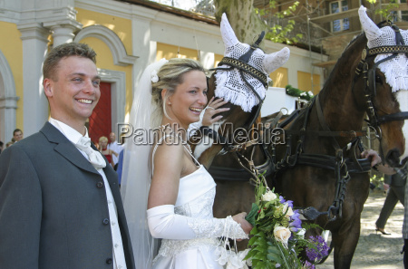 wedding with horse carriage