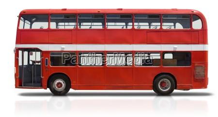 red double decker bus auf weiss