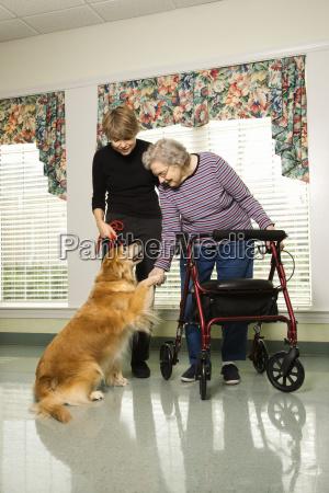 aeltere frau mit therapiehund