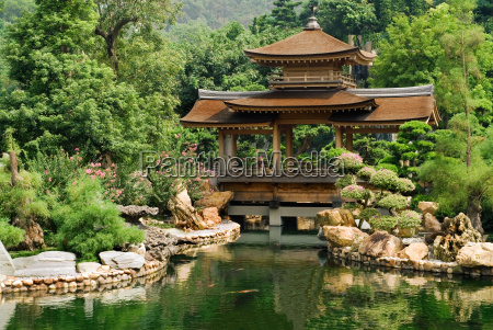 traditional chinese house near the pond